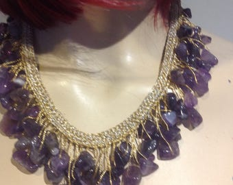 Natural AMETHYST Droplets CLUSTERS Dangling NECKLACE Bohemian