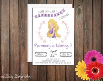 Birthday Party Invitations - Princess Rapunzel and Laurel in Watercolor Style - Tangled Princess - Set of 20 with Envelopes