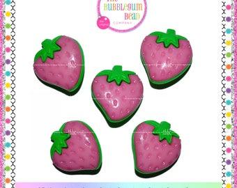 25mm PINK & GREEN STRAWBERRY Kawaii Button, Qty 5, Notions, Buttons, Shank Buttons, Whimsical Buttons, Strawberry, The Bubblegum Bead Co.