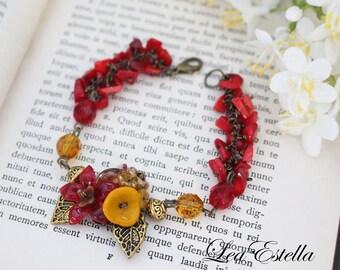 Floral Corsage Bracelet Red Flower Bracelet Autumn bracelet Fall Accessories Boho Floral bracelet Woodland bracelet - Flame of the Forest