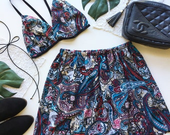 Turquoise black paisley blue outfit festival fashion set skirt and crop bralette bra top
