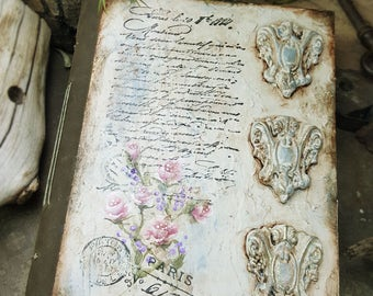 French Romance - Shabby Chic Inspired Blank Journal