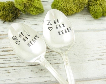 Queen of His Heart. King of Her Heart. Stamped Spoons for Valentine's Day Gift. Couples Gift. Gift for Husband. Gift for Wife. 603SP