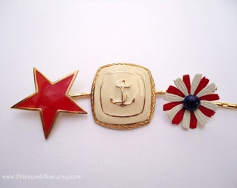 Vintage earrings hair slides - Patriotic red star enamel cream gold navy anchor red white blue flower embellish decorative hair accessories