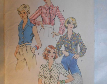 Vintage PATTERN Simplicity 6161  Young Junior/Teen and Misses'  Blouse   Size 12
