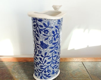 Large Vase in Blue and White Flowers and Birds with an Applique Bird