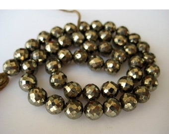 55% ON SALE Pyrite Beads, Faceted Beads, Rondelle Beads, 6mm Beads, 30 Pieces, 8 Inch Strand