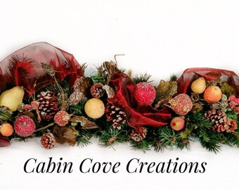 SALE Williamsburg Manor Christmas Mantel Garland Swag Fruit Holiday Arrangement  Matching CUSTOM designs Available by Cabin Cove Creations