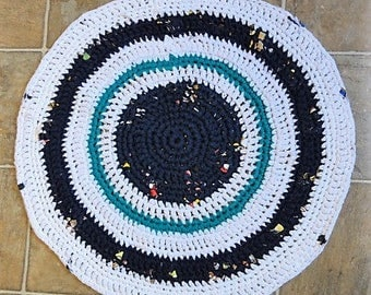 white navy and teal round upcycled tshirt rug bath mat
