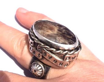 Sterling Silver, Sterling, Silver, Handmade, Gold, Brown, Sunstone , 925, Natural, Quote, Statement, Ring, size 8