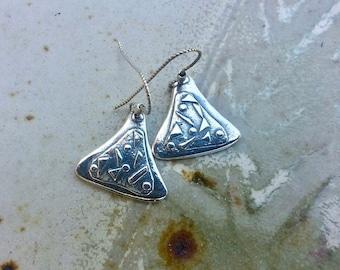 Silver Earrings - Fine Silver Appliquéd Earrings -  OOAK Small Dangles