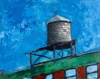 New York City Water Tower 11x14 Original Acrylic Painting on Panel