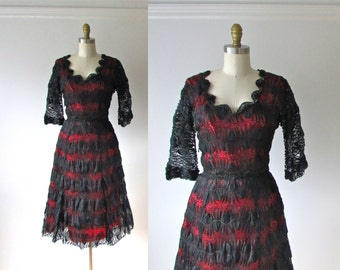 Web of Love /  50s dress / vintage 1950s dress