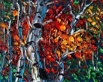 Autumn Landscape Painting Birch Tree Forest Oil on Canvas Textured Palette Knife Modern Original Art 8X10 by Willson Lau