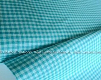 ORGANIC Rain Turquoise Plaid Cotton Fabric,Quilting Fabric, Yarn Dye Fabric, Apparel Fabric, Checks Please Collection from Cloud9 Fabrics