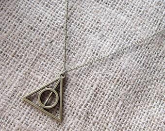 Harry Potter Deathly Hallows Symbol Bronze Necklace ~ Pendant For Potterheads