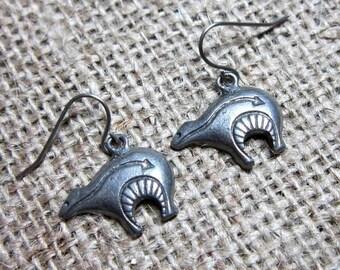 CLEARANCE Zuni Bear Silver Earrings ~ Bears on Stainless Steel Hooks Native American Indian