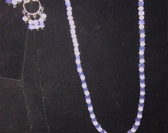 Opal-essence Hand Beaded Single Strand Necklace and Earring Set
