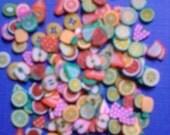 Kawaii clay cane mini fruits slices deco decoden diy     more than 200 pcs--USA seller
