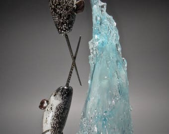 Convergence- A Blown Glass Narwhal Iceberg Sculpture by Andy Libecki