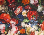 Fabulous Rich Floral Blooms Digital Print Pure Cotton Fabric--By the Yard