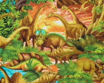 Fabulous Dinosaur Scenic Print Pure Cotton Fabric--By the Yard