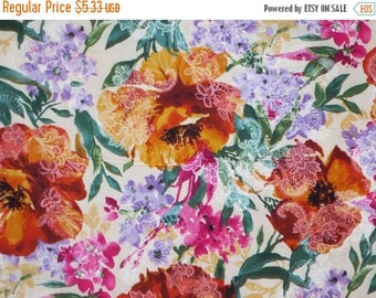 ON SALE SPECIAL--Lacy Watercolor Floral Print Pure Cotton Fabric--One Yard