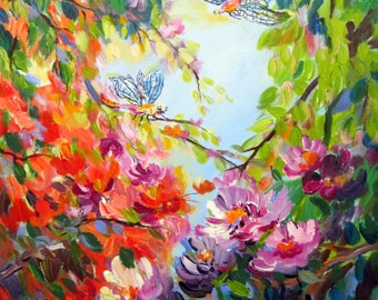 Dragonflies Original Painting Nature art  24 x 30 Fine Art by Elaine Cory