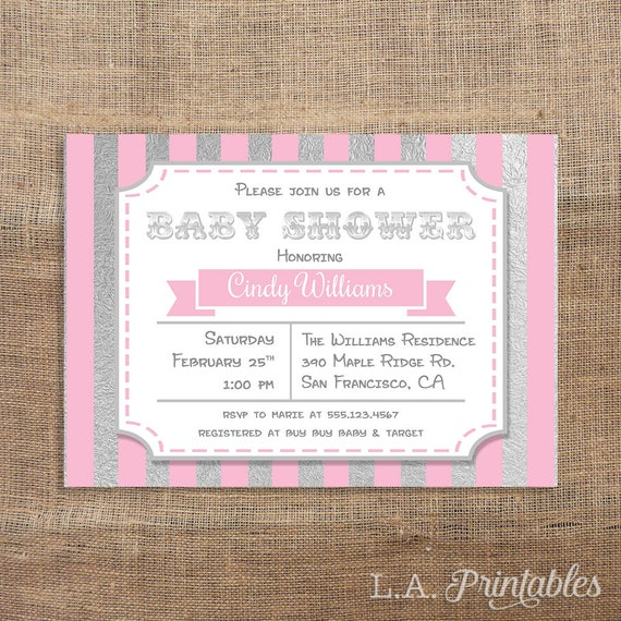 pink and silver baby shower invitation pink stripe baby shower invite
