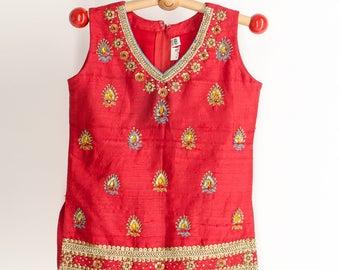 Vintage 70s Red Jeweled Bohemian Girls Top 2 3 Bohemian Girl Ethnic Boho Top Sleeveless Top