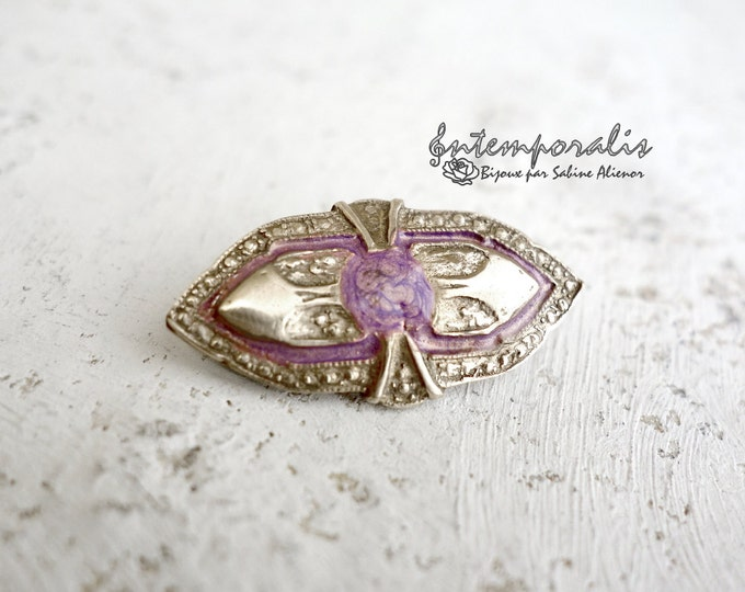 Gold bronze and pink resin brooch, OOAK, SABRO02