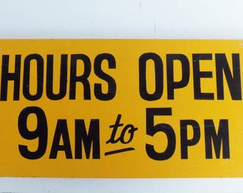 Vintage Hours Open Wood Sign, Store Hours Sign