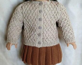 AG 250  Diamond Trellis Sweater  Crochet Pattern for American girl dolls