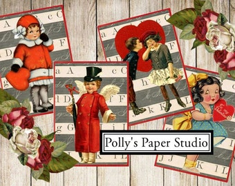 School House Vintage Valentine Digital Images printable download file for Cards and Tags and Crafts Polly's Paper Studio 9 Images