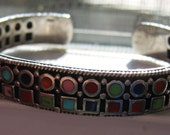 Vintage Sterling Silver Ladies Women's Cuff Bracelet with Multi-Color Gemstones Unique and Well Crafted