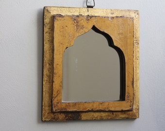 Moroccan Mirror Small Mirror Accent Mirror Mediterranean Colors Vintage Wood Mirror Yellow Gold Color Mirror Moroccan Decor Turkish Interior
