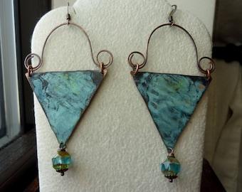 Triangle Patina Hoop Swirl Earrings, Boho Chic, Bohemian, Statement, Rustic, Chandelier, Dangle Earrings, Bold, Large Earrings