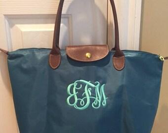 SHIPS NEXT DAY -- Personalized Monogrammed Designer Inspired Longchamp Blue Black New Color Vinyl Nylon tote bag purse --Free Monogramming
