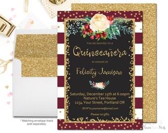 Winter Quinceañera Birthday Invitation, Quinceañera Party Invitation, Girls Birthday Invitation, Floral Birthday Invite, Gold Glitter