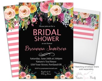 WATERCOLOR Floral Bridal Shower Invitations, Floral Bridal Shower Invites, Shower The Bride Invites, Pink Floral Wedding Invitation, Flowers