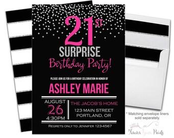 21st Birthday Invitation - 21st Surprise Birthday Invitation - Surprise Party Invite - Adult Birthday Invite - 21st Birthday - Confetti
