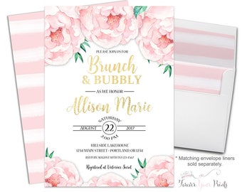 Brunch and Bubbly Invitation - Floral Bridal Shower Invitation - Rustic Bridal Invite - Boho Bridal Shower - Country Bridal - Peony