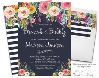 FLORAL Brunch and Bubbly Invitation, Bridal Luncheon Invitation, Engagement Invitation, Wedding Shower Invite, Bridal Invite, Flowers, Navy