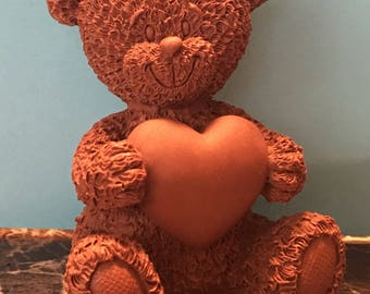 3D Teddy bear with heart crayon