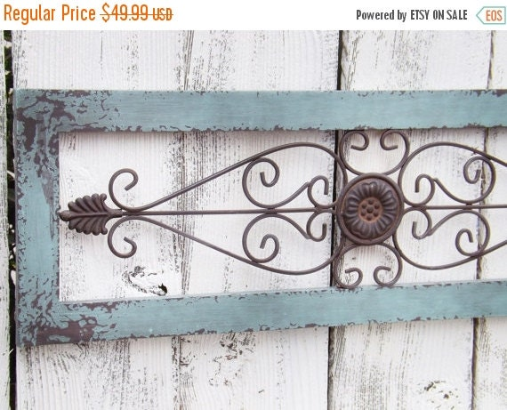 Wrought Iron Wall Decor With Wood Frame : Wrought iron and wood decor duck egg blue by theshabbyshak