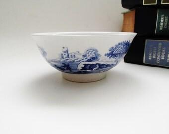 Spode Blue Italian Rice Bowl, Chinoiserie Dish, Blue and White China Bowl, Porcelain Trinket Dish