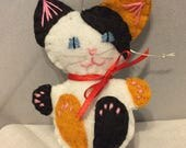Calico Kitten Wool Felt Christmas Tree Ornament/Pocket Toy