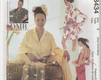 Loungewear Pattern Lined Caftan Gown Pants Shorts  Misses Size 4 - 14 XS, S, M uncut McCalls 3434