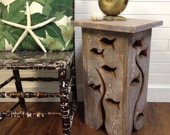 Wood School of Fish Art Side Table Driftwood Colour Night Stand Coffee Table by CastawaysHall