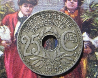 1933 France, 25 Centime Coin